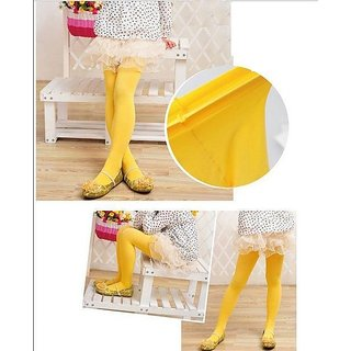 New Girls Kids Footed Tights Stockings Legging Balle Dance Solid Yellow Stocking