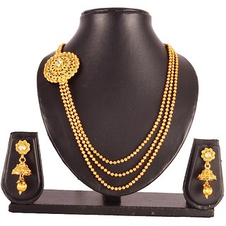 Antique Design Golden finishing Long AD Stone Necklace Set with Stunning Earring (MJ0166)