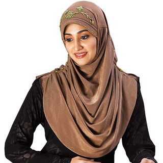RIA107 Golden Yellow Soft and shiny Polyester Hand work Design Hijab