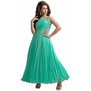 RapidDukan Green Net Embroidered Long Anarkali Salwar Suit Dupatta Material SF394