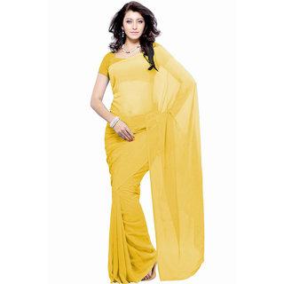 Jiya Fashion Yellow Georgette Plain Saree With Blouse