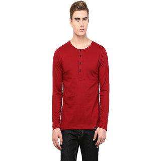 Rigo Men's Maroon Round Neck T-Shirt