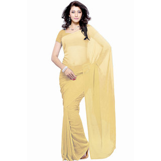 Jiya Fashion Beige Georgette Plain Saree With Blouse