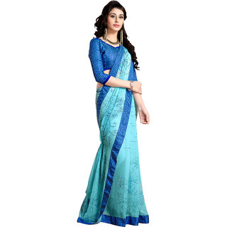Jiya Fashion Blue Georgette Printed Saree With Blouse