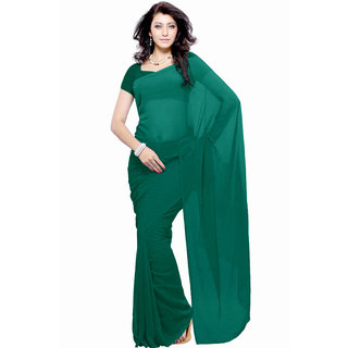 Jiya Fashion Green Georgette Plain Saree With Blouse