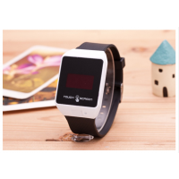 LED Square Shape Metal Finishing White Frame Touch Watch By InstaDeal