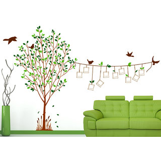 Vinyl Family Tree Living Room Sticker With Blank Photo Frames Hanging On  String And Birds Wall