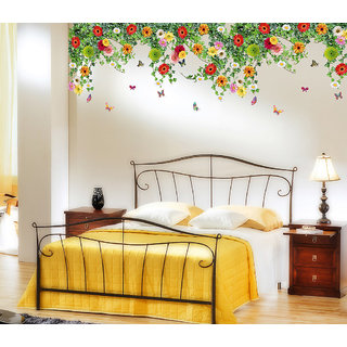 Walltola Multicolor Floral Wall Stickers Bed Room Backdrop Other Hanging Realistic Daisy Flowers Falling From Ceiling Border Decoration Vinyl (No of Pieces 1)