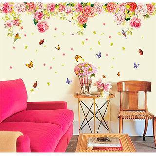Walltola Multicolor Vinyl Rose Romantic Valentines Design Vintage Peony Floral  Wall Sticker (No Of Pieces
