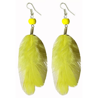 Shreya Collection Yellow Funky Beaded Feather Earrings - 853.5