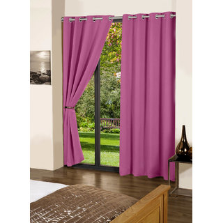 Lushomes Bordeaux Plain Cotton Curtains With 8 Eyelets for Door