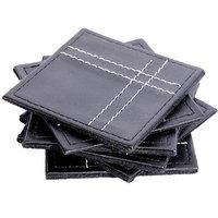 Sutra Decor  Black Leather Coaster Set Of 4