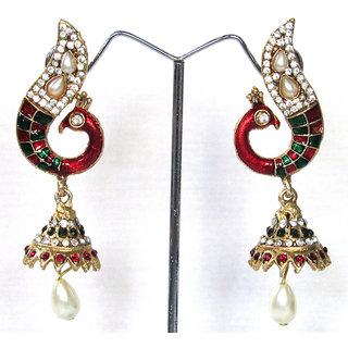 Nice Maroon Green Pea Jhumka Earring