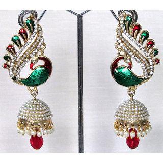 Nice Maroon drop peacock jhumka earring
