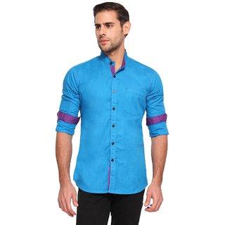 Wajbee 100 Percent Cotton Blue Color Full Sleeve Shirt