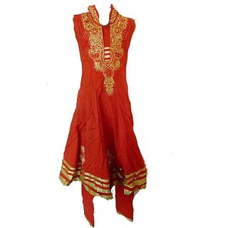 KR Collections Orange Colour Cotton Made Kids Dress