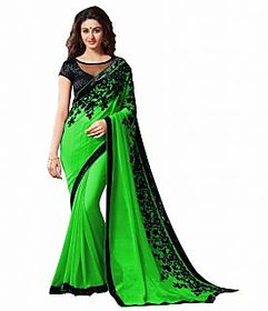 Bhuwal Fashion Green Chiffon Embroidered Saree With Blouse