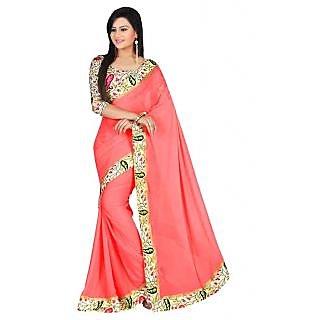 6397311a797bc Bhuwal Fashion Designer Lace Border Work Faux Georgette Peach Color Saree -93Peach
