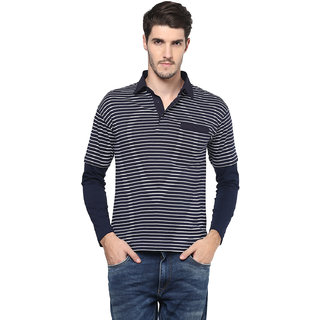 Hypernation Polo Neck Blue Color With Cotton Full Sleeves T Shirt For Men