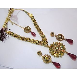 Traditional Most Selling One Gram Gold Precious Stone & Meena Jewellery Set
