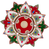 Itiha White Red Green 13 Pieces Rangoli With Golden T Light Holder And Candle (12 Inches  12 Inches)