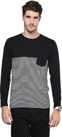 Hypernation Round Neck Black Color With Cotton Long Sleeves T-shirt For Men