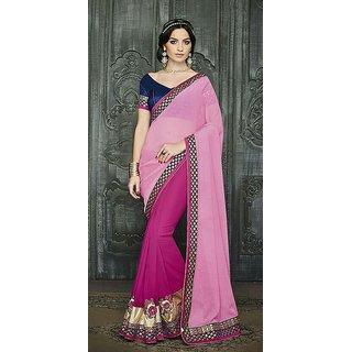 Krishna Designer Saree Pink and Rani half half saree