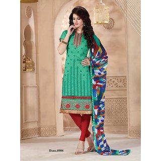Trendz Apparels Turquoise Chanderi Straight Fit Salwar Suit (Unstitched)