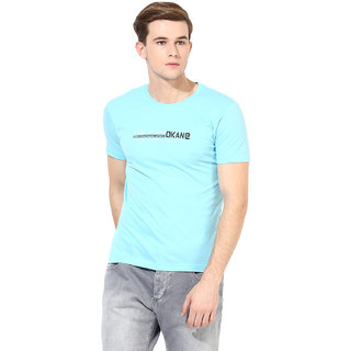 Okane Blue Half Sleeve Round Neck Casual Wear T-shirts