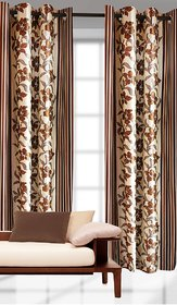 New Collection : Beautiful Flower Design Brown Color Eyelet Polyester Curtain Door Length (Set of 2 Pcs) 84