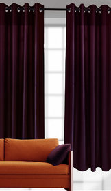 India Furnish New Collection : Purple Color Plain Eyelet Polyester Curtain Door Length (Set of 2 Pcs) 84