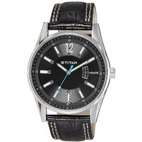 Titan Round Dial Black Leather Strap Mens Quartz Watch