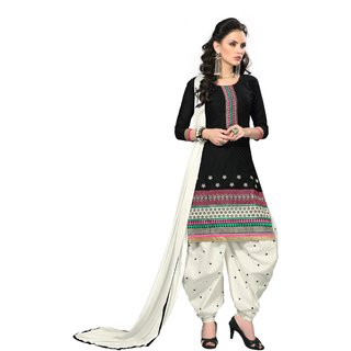 Shopeezo Daily Wear Black Color Pure Cotton and Jacquard Dress Material (Unstitched)