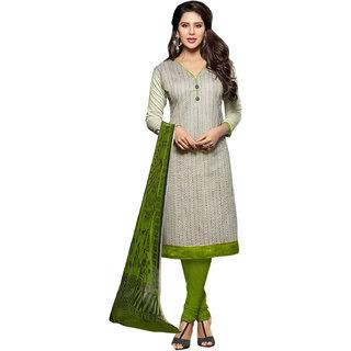 Sareemall Cream Chanderi Embroidered Salwar Suit Dress Material