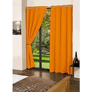 Lushomes Sun Orange Plain Cotton Curtains With 8 Eyelets for Door
