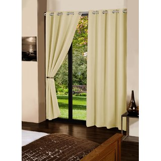 Lushomes Ecru Plain Cotton Curtains With 8 Eyelets for Long Door