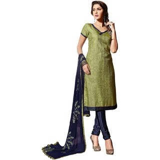 Shopeezo Daily Wear Green  Color Banarasi Silk Dress Material