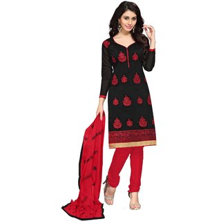 Shopeezo Daily Wear Black Color Chanderi Dress Material (Unstitched)