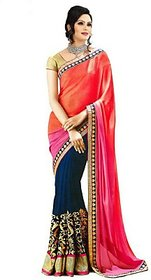 florence clothing company Orange   Embroidered Saree With Blouse