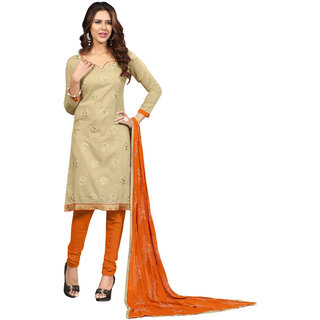 Aaina Beige  Orange Chanderi Cotton Embroidered Dress Material For Women