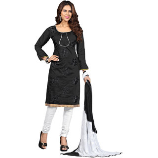 Florence Black Chanderi Embroidered Salwar Suit Dress Material (Unstitched)