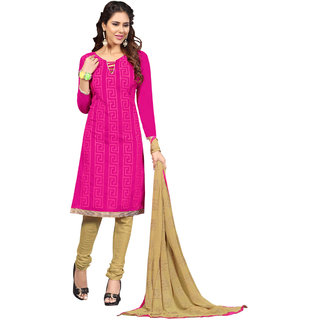 Aaina Pink  Beige Chanderi Cotton Embroidered Dress Material For Women