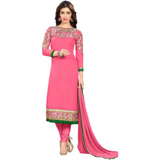 Aaina Pink Georgette Embroidered Dress Material For Women (Unstitched)