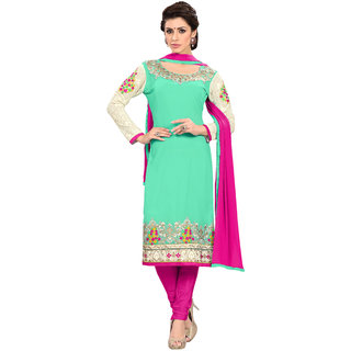 Aaina Green  Pink Georgette Embroidered Dress Material For Women