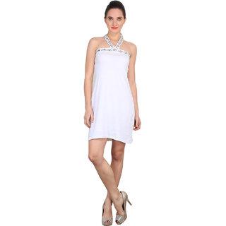 Anaphora White Plain A Line Dress For Women