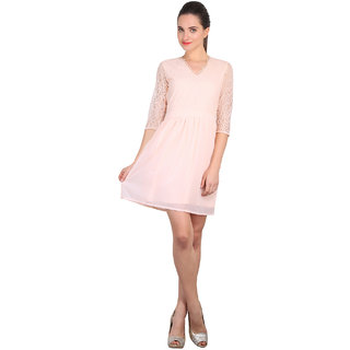 Anaphora Pink Plain A Line Dress For Women