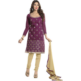 Aaina Violet  Beige Chanderi Cotton Embroidered Dress Material For Women (Unstitched)