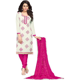 Aaina White  Pink Chanderi Cotton Embroidered Dress Material For Women