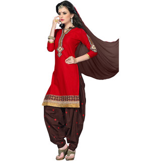 Aaina Red  Maroon Cotton Embroidered Dress Material For Women