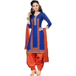 Aaina Blue  Orange Cotton Embroidered Dress Material For Women